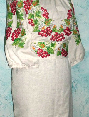 Ukrainian goods. Vishivanka. Вишиванка. Embroidered handmade clothes with national Ukrainian design.